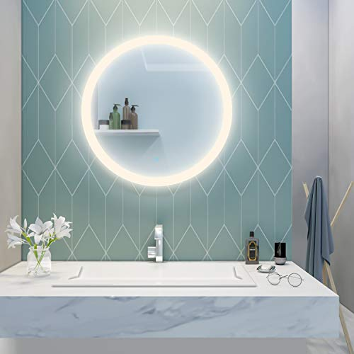 Elegant 24 in. Round Frameless Wall Mirror Touch Switch, Bathroom Vanity Circle -