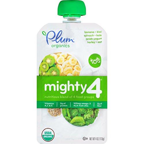 Plum Organics Tots Mighty 4, Spinach, Kiwi, Barley & Greek Yogurt, 4 Ounce
