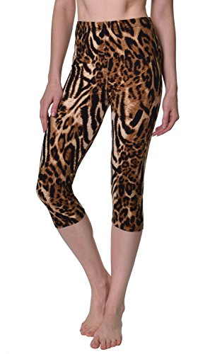 VIV Collection Regular Size Printed Brushed Buttery Soft Capris (Margay Animal Print) -