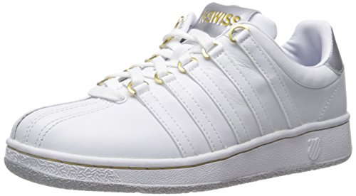 K-Swiss Womens Classic VN Iconic Fashion Sneaker White/Silver/Gold n30rXaCM