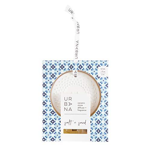 (Urbana 75181SS Scented Ceramic Stone Diffuser + Mini Fragrance Oil Spray (0.1oz), Salt +)