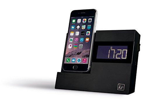 KitSound XDOCK3 Radio Uhr Dockingstation Ladegerät mit Lightning Anschluss für iPhone 5 / 5S / 5C / SE / 6 / 6 Plus / 6S / 6S Plus, iPod Nano 7. Generation, iPod Touch 5. Generation (mit EU-Netzstecker) - Schwarz