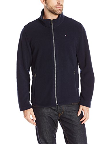(Tommy Hilfiger Men's Classic Zip Front Polar Fleece Jacket, Navy, XL)