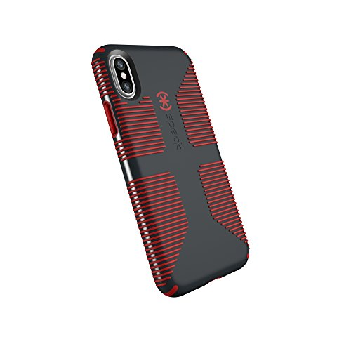 Xs Grip - Speck Products CandyShell Grip Cell Phone Case for iPhone XS/iPhone X - Charcoal Grey/Dark Poppy Red