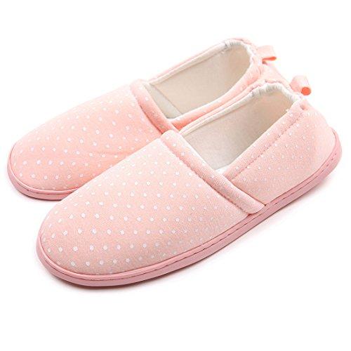 Donne Chicnchic Comode Pantofole Interne Lavabili A Pois Morbide Scarpe Da Casa Suola Rosa