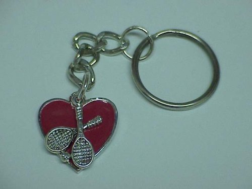 Love Tennis Key Ring (I Love Tennis Heart Keychain Key Chain - Red (Brand New))