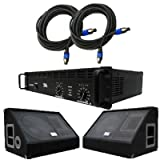 Seismic Audio - SA-12MXPKG1 - Pair of 12 Inch Floor or Stage Monitors, Amplifier, and Cables (Add On) - PA, DJ, Karaoke, Live Band use