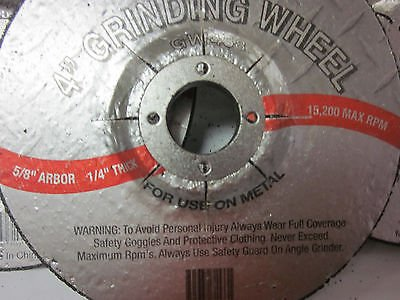 ~ 15~4'' DISC 1/4'' THICK 5/8'' ARBOR GRINDING WHEEL CUTTING METAL 15,200 RPM GIT