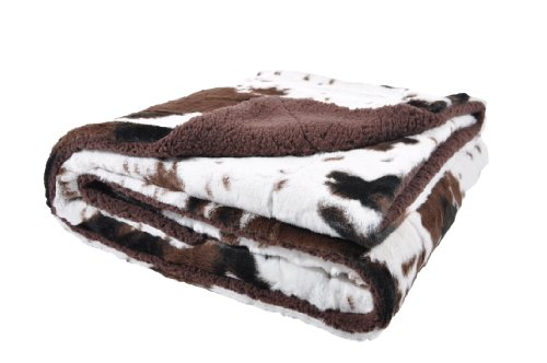 Sleeping Partners Cowhide Print and Sherpa Plush Throw Blanket Cow Blanket