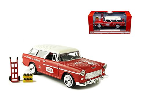 - CLASSICS 1:24 COCA-COLA - 1955 CHEVROLET BEL AIR NOMAD WAGON WITH DOLLY & TRAYS OF COKE BOTTLES DIECAST BY MOTOR CITY