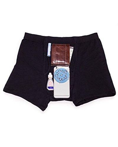 (iHeartRaves Men's Black Stash Boxer Briefs - Secret Pocket Underwear (Medium))