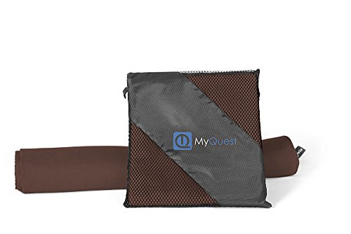 MyQuest Microfiber Towel, Small 16x32in Facial Size With Case - Premium Grade For Sports, Yoga, Hiking, Travel - Hassle Free - Dark Coffee