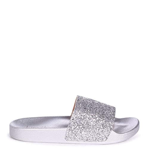 Linzi Stevie - Silver Slip On Sliders with Heavy Glitter Front Strap Silver 46ClcY