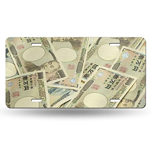 (Chepailvhejin Japanese Banknotes 50 State Personalized Custom Novelty Tag Vehicle Auto Car Bike Bicycle Motorcycle Moped Key Chain License Plate£¨Aluminum£612inch)