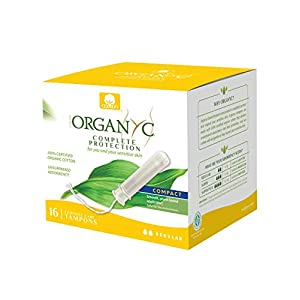 Organyc 100% Certified Organic Cotton Tampons, Normal Flow, with Compact Plant-Based Eco-Applicator, 16Count 110