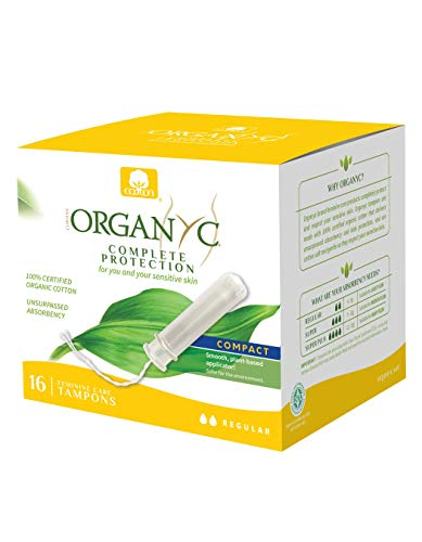 Organyc 100% Certified Organic Cotton Tampons, Normal Flow, with Compact Plant-Based Eco-Applicator, 16Count ()