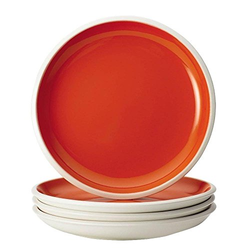 Dinnerware Rise 4-Piece Stoneware Salad Plate Set in Orange