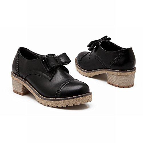 Latasa Mode Féminine Printemps Automne Arc Chunky Mi-talon Plate-forme Mocassins Chaussures Noir