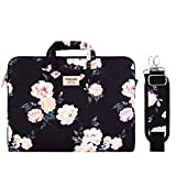 MOSISO Laptop Shoulder Bag Compatible 13-13.3 Inch MacBook Pro, MacBook Air, Notebook with Back Trolley Belt, Canvas Pattern Carrying Handbag Briefcase Sleeve Case Cover, Apricot Peony