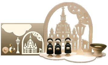 Holz Bastelset 3 D Kerzenhalter Frauenkirche Natur Weihnachten