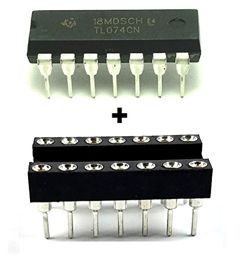 Texas Instruments TL074CN Quad Low-Noise JFET-Input Operational Amplifier IC & 14-Pin DIP Sockets with Machined Contact Pins (Pack of 10)