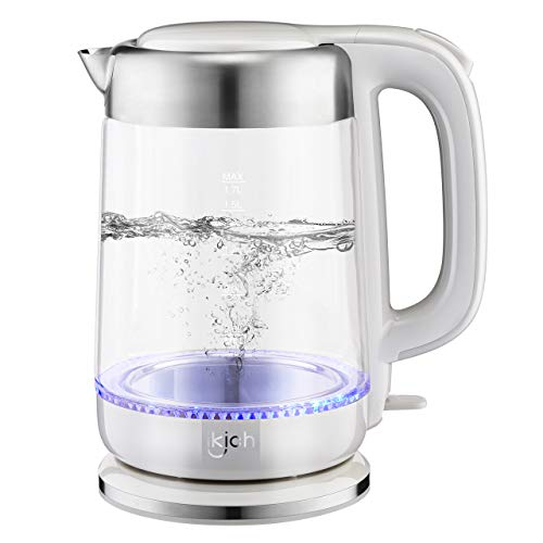 Hot Water Kettle, IKICH 1.7L BPA-Free Electric Kettle 1500W Fast Heating Water Boiler, Cordless Glass Kettle with Led Indicator, Auto Shut-Off & Boil-Dry Protection