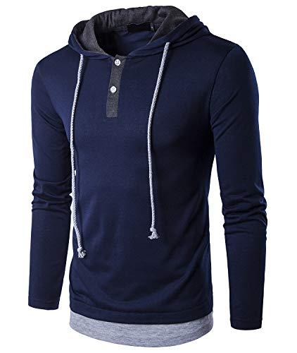 QPNGRP Men's Casual Loose-Fit Long Sleeve Hoodie Shirt B27 Navyblue - Hooded Shirt Long
