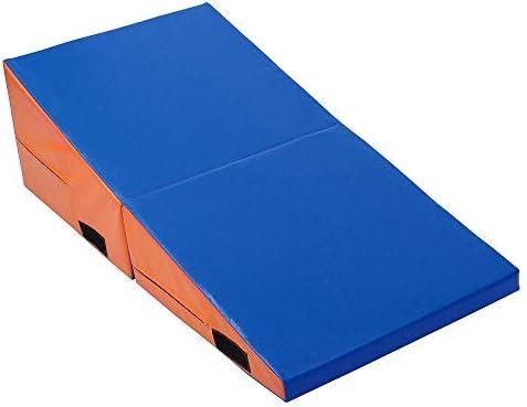 体操マット 折りたたみ体操マットヨガエクササイズジムAirtrackパネルタンブリングクライミングピラティスパッドエアトラック (色 : 青, サイズ : S)