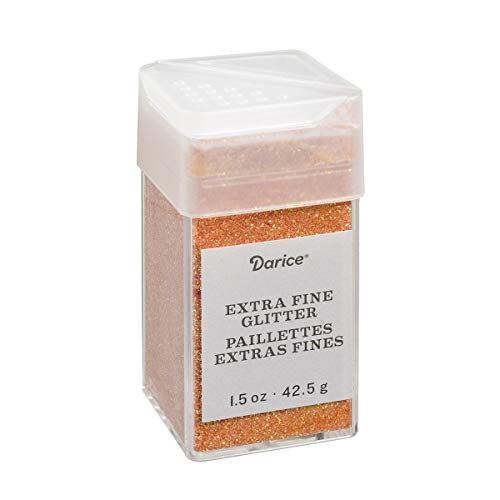 Pumpkin Orange Extra Fine Glitter 1.5 Ounces Canister w/Pour or Shake Lid