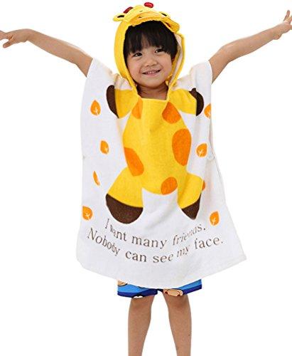 Infant Kids Animal Design Hooded Bath/Beach Poncho Towel Giraffes