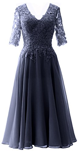 MACloth Dress Women Gown Half of Sleeves Formal Bride Lace Evening The Mother Dunkelmarine ppSxRnr