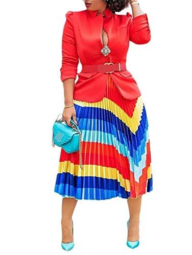 LROSEY Women's Casual High Waisted Midi Skirt Ruffle Stripe Summer A Line Loose Skirts Clubwear Cocktail Plus Size Rainbow ()