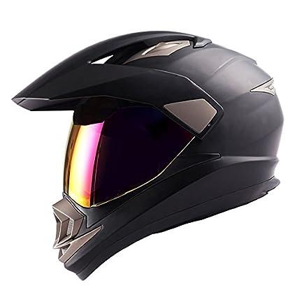 Dirt Bike Helmet With Visor >> Dual Sport Motorcycle Motocross Off Road Full Face Helmet Matt Black