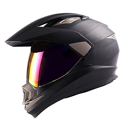 Dual Sport Helmet Motorcycle Full Face Motocross Off Road Bike Matt Black