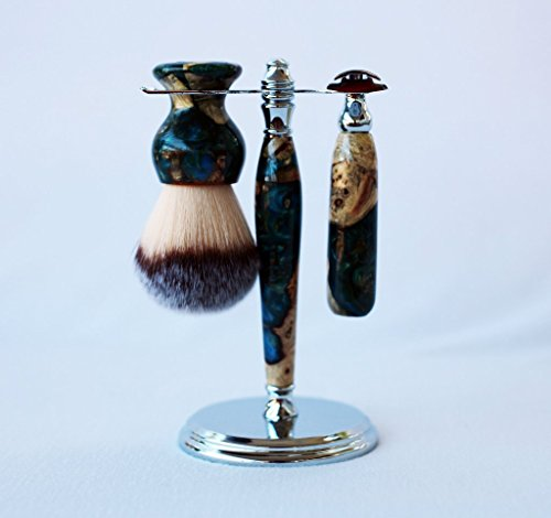 Buckeye Burl Shave Set with Blue, Green and Gold Resin, safety razor, shave brush and matching brush and razor stand. by CreationsByWill