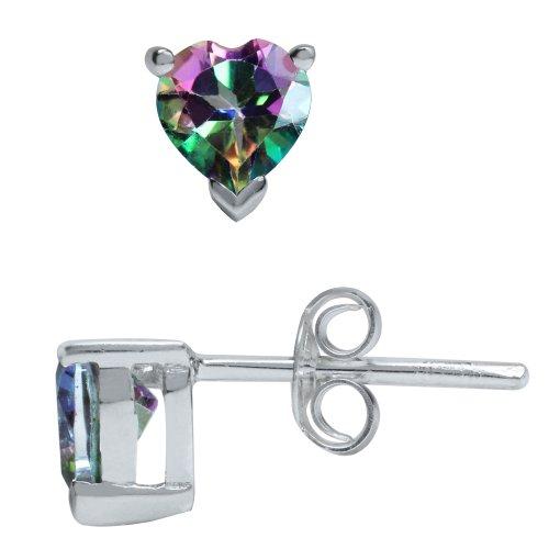 Mystic Fire Topaz Heart (1.1ct. Heart Shape Mystic Fire Topaz 925 Sterling Silver Stud Earrings)