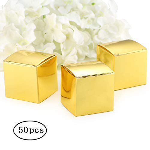 Gold Favor Boxes - Gold Gift Candy Box Bulk 2x2x2 inch Small Party Favor Box, Gold Glitter, Pack of 50