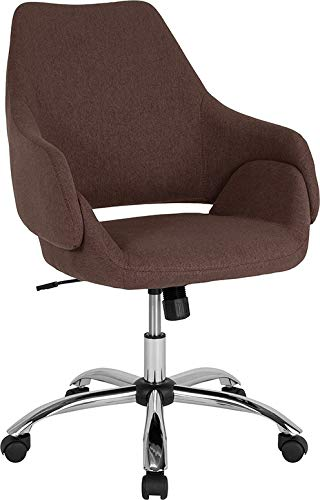StarSun Depot Madrid Home and Office Upholstered Mid-Back Chair in Brown Fabric 27