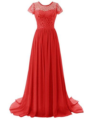 Brautjungfer Abendkleid Damen Rot Beonddress mit Kleid Ärmeln Lange Abendkleid Chiffon Y6qwBEq