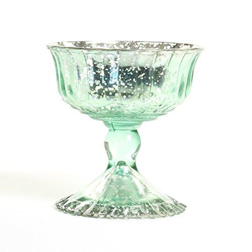 Koyal Wholesale Compote Bowl Centerpiece Mercury Glass Antique Pedestal Vase, Floral Centerpiece, Wedding, Bridal Shower, Home Décor (4.5