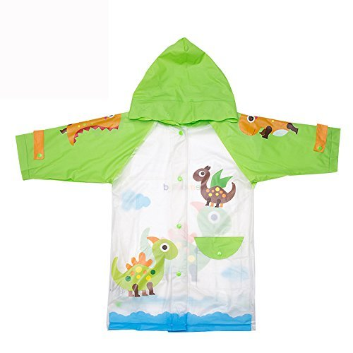 Kids Raincoat For Girls and Boys, Children's Raincoat With Hood Waterproof Carton Green Dinosaurs Rain Jacket Portable For Theme Parks, Sporting Events, Camping, Traveling