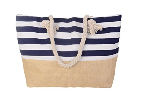 Pulama Womens Large Beach Tote Canvas Shoulder Bag Wave Striped Anchor Summer Handbag Top Handle Bag Straw Beach Bag (Blue) ()