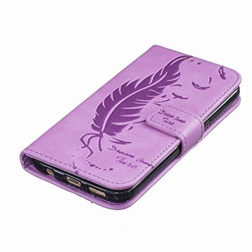 Custodia Samsung Galaxy S7 G930F Cover Case, Ougger Portafoglio PU Pelle Magnetico Stand Morbido Silicone Flip Bumper Protettivo Gomma Shell Borsa Custodie con Slot per Schede, Sognare Piuma Porpora