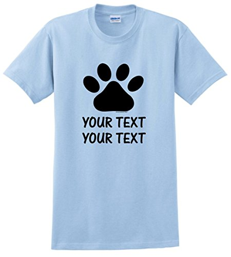 Personalized Dog T-Shirt Personalized Dog or Cat Paw with Your Custom Text T-Shirt Medium LtBlu (Dog T-shirts Personalized)