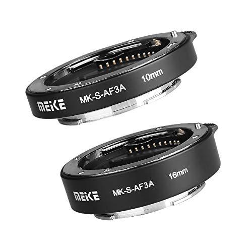 Meike MK-S-AF3A Metal Auto Focus Macro Extension Tube Adapter Ring (10mm+16mm) for Sony Mirrorless E-Mount A5000 A5100 A6000 A6300 A6500 A6400 A6600 A6100 A6600 A9 A7III A7 NEX Camera A7 A7M2 NEX3 NEX5 NEX6 NEX7