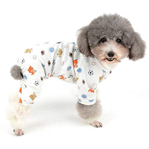 Zunea Small Dog Pajamas Jumpsuit Pyjamas Overalls Soft Cotton Rompers Summer Puppy Sleeping Clothes Bear Football Printed Four Legs Pjs Apparel for Girl Boy Pet Cats Pups S