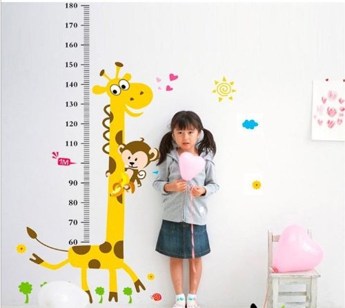 Njseller-cn Naughty Monkey and Yellow Giraffe Wall Decal for Kid's Bedroom Cartoon Animals Height Chart (60cm-180cm) Nursery Wall Sticker Decor Removable Walpaper for Children (180 Animals)