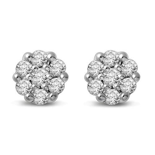 Diamond Jewel 14K Gold Diamond Flower Cluster Stud Great Value by Diamond Jewel