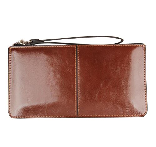 Brown Leather Wristlet - iToolai Women's Solid Color PU Leather Wristlet Clutches Purse Wallet Credit ID Cards Holder,Brown