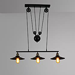 WINSOON Pendant Light Pulley Lamp Adjustable Wire Antique 3-light Retro Iron Droplight Ceiling Lighting American Country Style